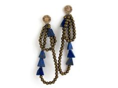 Lapis Cairn Earrings by LaurelHill on Etsy, $106.00