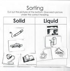 Solido Liquido y Gas Spanish Sorting Worksheet Science C