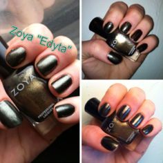Zoya Edyta- multi-tonal metallic green with hints of olive, blue, gold and gray.