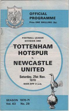Vintage Football (soccer) Programme - Tottenham Hotspur v Newcastle United, 1970/71 season, by DakotabooVintage