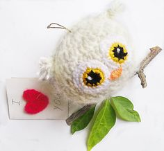 Valentine's day Owl Owl Love CardValentine gift jewelry Home decor Knitting Owl Fairy tale bird owl gift for a loved one