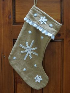 Button, burlap and lace come together for a festive stocking!