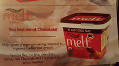 Super excited to heading out tomorrow to try @Melt Organic!The chocolate spread is Vanillin Free, Nut Free(Huge for me since my kid has a nut allergy), Dairy Free, Soy Free, Trans Fat Free, and it's perfect for school lunches!! Only 1 gram of sugar per serving!! I have $1.00 off coupons, let me know if you would like to try this with me! http://momlunchboxchronicles.weebly.com/contact.html