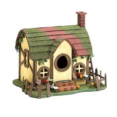Gingerbread-like Forest Cottage Birdhouse Country Garden Outdoor Home Decor