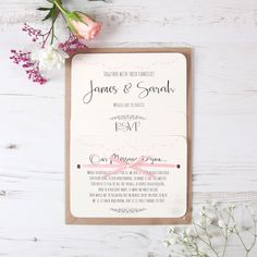 Light Pink Heart Bunting Wedding Invite Day / Evening / RSVP / Menu / Gift Msg | eBay