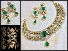 This Exquisite Piece of Necklace is Studded with the Finest Quality CZs and Simulated Emeralds. This Two Tone Necklace is a Unique Combination of AD And High Quality Kundans. It has so much Sparkle that you would feel like a Princess!!!