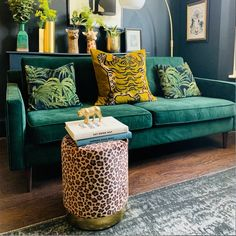 Doubling as a small seat or a compact stool, the leopard print Marie pouffe is a perfect touch to a glamorous living space. Buy now and glam up your decor. Room Color Schemes, Room Colors, Art Nouveau, Living Room Decor, Living Spaces, Paint Cabinets White, Art Deco Bedroom, Small Stool, Art Deco Furniture