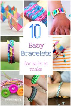 Easy and cool bracelets for kids to make! These DIY bracelets are simple enough … Easy and cool bracelets for kids to make! These DIY bracelets are simple enough for young kids to create. A great craft for a rainy day! Arts And Crafts For Teens, Easy Arts And Crafts, Crafts For Kids To Make, Easy Crafts For Kids, Arts And Crafts Supplies, Toddler Crafts, Creative Crafts, Preschool Crafts, Diy And Crafts