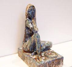 Ceramic tea light nude figure sat handmade unique statue
