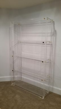 Hand Made Lucite Acrylic Bookcase Button Line Handcrafted