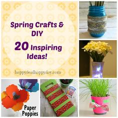 Spring Crafts & DIY | 20 Inspiring Ideas! Brighten up your home with these ideas!! happydealhappyday.com