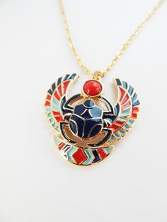 New to TheBlackerTheBerry on Etsy: Egyptian Scarab Necklace Jewelry Scarab African Jewelry Gold Tone Necklaces Sacarab Pendant
