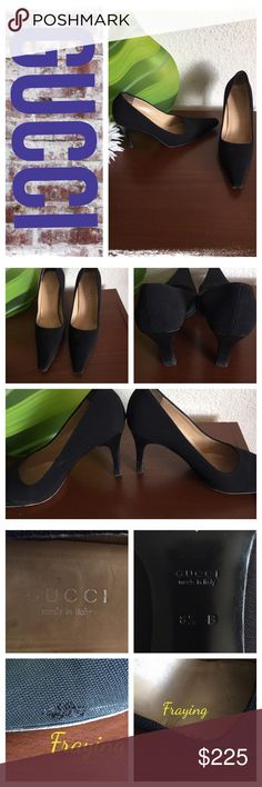Gucci cloth  classic black pumps *Gucci                                                                         *Gently worn, EUC  fraying in spots, see pics                                                                     *Size 8.5, medium width                                                                      *3 inch heel height Gucci Shoes Heels
