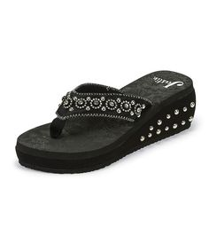 Love this Justin Boots Black Rhinestone Studded Wedge Sandal - Women by Justin Boots on #zulily! #zulilyfinds
