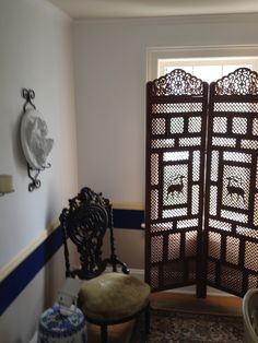 hand carved wood panel, & one of 8 antique chairs~$100,000~House of History, LLC.