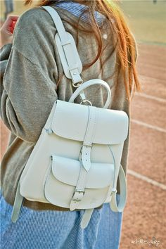 white baby leather backpack by Grafea www.grafea.co.uk