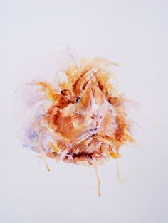 Guinea pig. Watercolor on canvas @Karen Grenfell