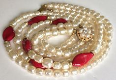 Lustrous Vintage Miriam Haskell 3 Strand Necklace~Pearls/Red Pate de Verre Glass #MiriamHaskell