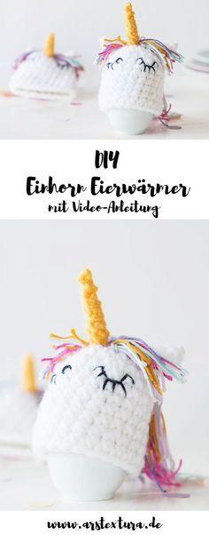 DIY Einhorn Eierwärmer zu Ostern - das perfekte DIY Geschenk - so einfach könnt ihr Eierwärmer häkeln