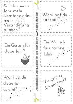 Silvester-Partyspiel, Tischdeko, Silvester & Freunde, Fragen für Silvester My favorite New Year's Eve party game, just cut out questions and put them on the table. Questions For Friends, This Or That Questions, Diy New Years Party, Silvester Diy, Diy Christmas Videos, Christmas Time, Diy Crafts To Do, Pinterest Blog, Party Games