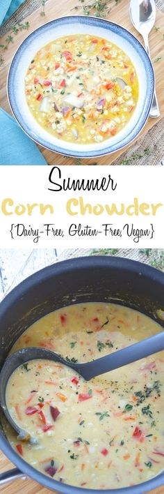 Summer Corn Chowder (Dairy Free, Gluten Free, Vegan) Fresh sweet corn is combined with fresh vegetables in this easy and delicious summer corn chowder. Coconut milk is used in place of cream, which makes this delicious chowder dairy free and vegan! Whole Food Recipes, Soup Recipes, Vegetarian Recipes, Cooking Recipes, Healthy Recipes, Cooking Games, Recipies, Dinner Recipes, Paleo Dinner