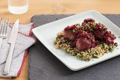 Pork Meatballs with Beet & Cranberry Agrodolce - Blue Apron - 10! Packed with flavor - farro is tasty and could easily be paired with another meat dish. Meatballs were very flavorful