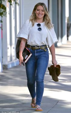 She's polished: Hilary Duff gave off a youthful appearance as she left a nail salon in LA ...