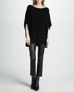 Poncho-Style Sweater & Leather Cropped Leggings by Vince at Neiman Marcus.