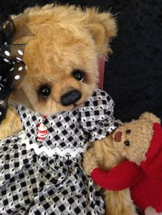 """""""RACHEL"""" MY NEWEST GIRL BEAR ALL DRESSED FOR CHRISTMAS!! OOAK ~BY~BONNIE FOSTER~"""