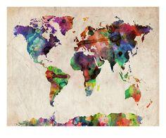 World Map Urban Watercolour Impressão giclée premium por Michael Tompsett na AllPosters.com.br