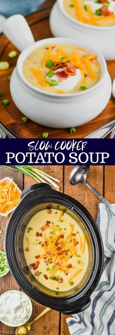 This Crockpot Potato Soup Recipe is easy to make and even easier to eat! It is the ultimate in comfort food. Loaded with bacon, cheese, and potatoes, your family will love this loaded baked potato soup recipe. #crockpot #potatosoup