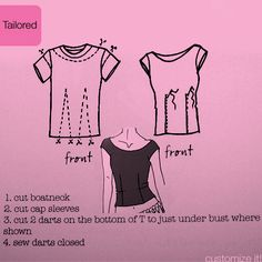 T-shirt refashion - yet another way to redo some over-sized t-shirts into something more fitted and flattering.