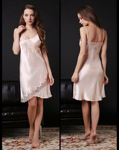 Satin Nightie, Silk Chemise, Silk Nightgown, Silk Sleepwear, Belle Lingerie, Chiffon, Silk Satin, Night Gown, Sexy Women