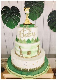Safari Baby Shower Cake, Deco Baby Shower, Lion King Baby Shower, Baby Shower Giraffe, Baby Shower Cakes For Boys, Boy Baby Shower Themes, Baby Shower Balloons, Unisex Baby Shower Cakes, Safari Party