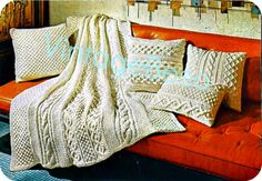 5 KNITTING PATTERNs - Aran Afghan & Pillows 1960s Retro Classic Gold - Make Christmas or any day special with these gorgeous lovelies by VintageBeso