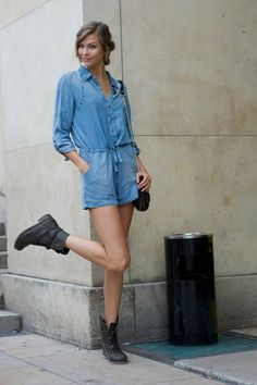 denim romper...a little too short, but, otherwise, cute style for Meg