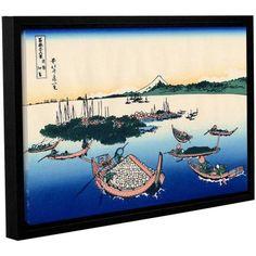 ArtWall Katsushika Hokusai Tsukuda Island in Musashi Province Gallery-Wrapped Floater-Framed Canvas, Size: 16 x 24, White