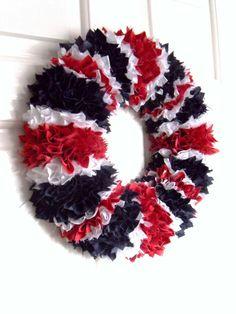 UNION JACK British Flag Fabric Wreath, Door/Wall Decoration