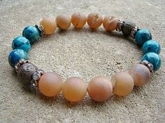 Gemstone Stretch Bracelet Beaded Bracelet Boho by BeJeweledByCandi