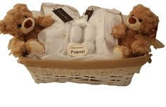 A lovely basket for twins in classic white and gray, wearing a nice suit in elegant brand Chocolat Baby. Baby Shower, Stuff To Buy, Color, Shopping, Baby Gifts, Hampers, Pamper Cake, World Market, 3 Months