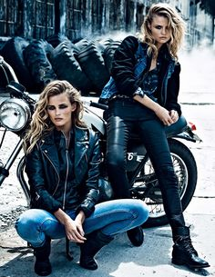 EDITORIAL-LOVE ! …. Amazing shots of two super models who rock a glamorous biker style ! | Styllure