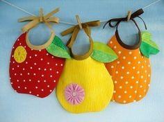 Apple, Pear & Pumpkin Bibs.  How cute.