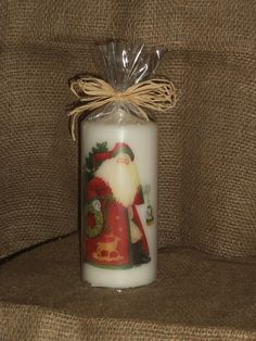 Vintage Santa candle, wrapped for gifting