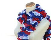 Mother's Day Hand Knit Ruffled Scarf - Patriotic Red White Blue