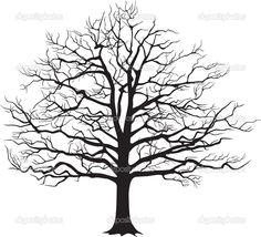 zwart silhouet van een kale boom. vectorillustratie — Stockvector ...