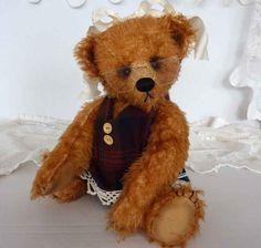 Artist Mohair Collectible Teddy Bear, 12 Inch Bernice, by Custom Teddys. $115.00, via Etsy. #handmade