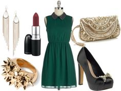 How to style a studded collar dress for night with embellished gold clutch spiked pumps spike ring plum lips and chandelier earrings