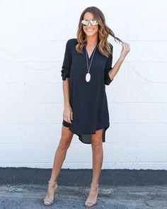 Simple Fashion Chiffon V Neck Dip Hem Short Dress