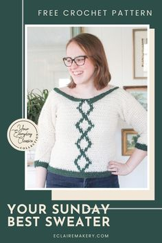 Look your best with this free intarsia crochet sweater pattern, the Your Sunday Best Sweater. This stylish and comfortable crochet sweater pattern for women can be dressed up or worn with your favorite jeans. It's a beginner friendly free intarsia crochet pattern, that includes a crochet sweater video tutorial to walk you through the pattern. #crochetsweater #freecrochetsweaterpattern #freecrochetsweater #freeintarsiacrochetpattern #intarsiacrochet #intarsiacrochetpattern