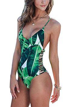 One-Piece Suits. 2016 Sexy One Piece Swimsuit Women Swimwear Green Leaf  Bodysuit Bandage Cut Out Summer Beach Bathing Suit Swim Monokini Swimsuit. f53518cb2